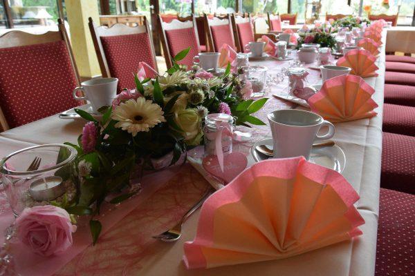 Tafeldekoration rosé
